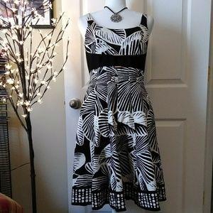 NINE WEST Cotton Fit flare palm dress